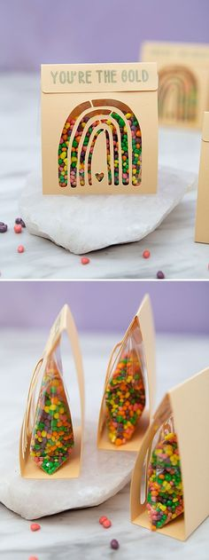 Fill these darling DIY treat pouches with your favorite rainbow candies! Unique Wedding Favors, Unique Weddings, Diy Wedding, Rainbow Treats, Rainbow Candy, Pouches, Candies, Your Favorite, Fill