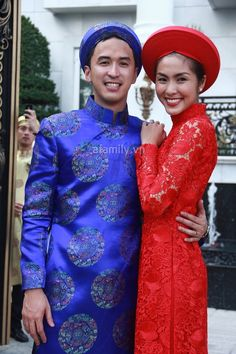 Red lace ao dai for wedding