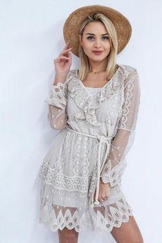 869b149964 SUKIENKA LILANA BEIGE - Sprzedaż odzieży online dla kobiet