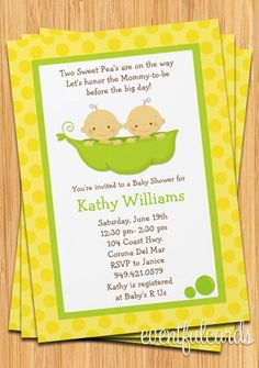 Twins Baby Shower Invitations Two Peas in a Pod