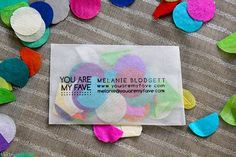"confetti business cards are my fave on http://www.youaremyfave.com. For my ""Party in a Box"" use confetti candy. Make envelope look like box."