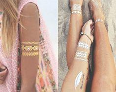 Tatuagem Adesiva Temporária Metálica - Ouro e Prata - Outras Jóias
