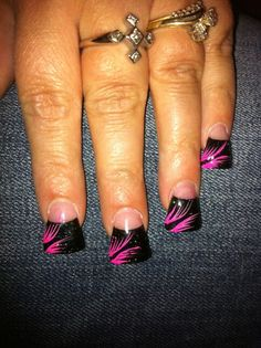 Black French Flared Nails With Pink Feather Design