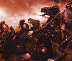 Битва при Фарсале, 48 год до н.э. Легионеры резервных когорт Цезаря атакуют конницу Помпея.