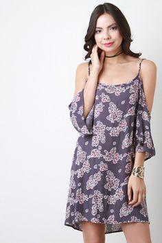 Cold Shoulder Floral Print Shift Dress