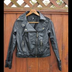 Pleather Moto Jacket 💜 Petite pleather moto jacket with faux brushed brass zippers. Sammy Dress Jackets & Coats Utility Jackets