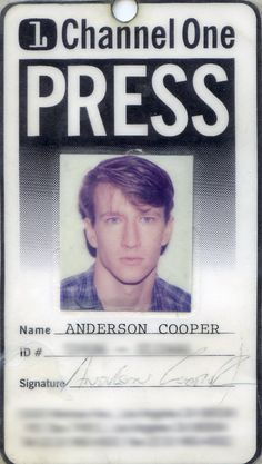 Anderson Cooper - we watched Channel One every day in high school - I remember him from back then.    OMG. BACK WHEN ANDERSON COOPER DIDN'T HAVE WHITE HAIR O_O