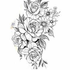 Rose Drawing Tattoo, Flower Tattoo Drawings, Tattoo Sketches, Rose Tattoos, Flower Tattoos, Body Art Tattoos, Sleeve Tattoos, Floral Tattoo Design, Flower Tattoo Designs