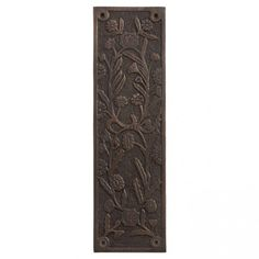 Floral Brass Push Plate