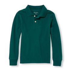 Boys Boys Uniform Long Sleeve Solid Pique Polo - Green - The Children's Place