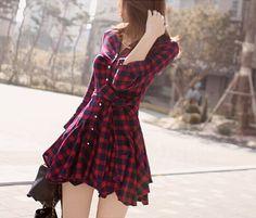 Hotsale Stylish Lady Women New Fashion Long Sleeve Lapel Plaid Sexy Dress