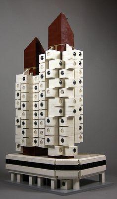 "Nakagin Capsule Tower (1972) in Tokyo, Japan by architect Kisho Kurokawa. / LEGO model by Flickr user ""SPACE, TIME & REALITY"". / More info at http://en.wikipedia.org/wiki/Nakagin_Capsule_Tower / #LEGO #Architecture #Postmodern"