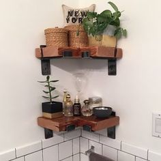 Items similar to x Reclaimed Wood Shelf with Two Handcrafted Metal Shelf Brackets by lemay+rivenbark design lab on Etsy Metal Shelf Brackets, Metal Shelves, Floating Shelves, Reclaimed Wood Shelves, Wood Shelf, Bathroom Barn Door, Design Lab, Updated Kitchen, Kitchen Shelves