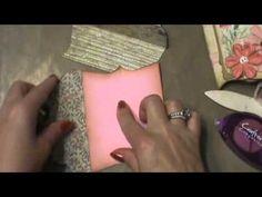 Album lesson: Shabby chic pockets full of vintage tutorial ( mini album scrapbook ) - YouTube