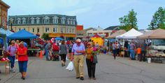 The very popular Farmers' Market in downtown Goderich, Ontario.