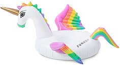 FUNBOY Rainbow Unicorn Inflatable Drink Holder in White.