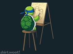 This is a stroke of genius to have Leo from #TMNT painting Leonardo's Vitruvian Man err.. Turtle ;)