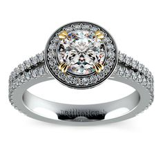 Proudly made in the USA, this platinum split shank pave halo diamond engagement ring features double prongs in 18k yellow gold for a contrasting look, accenting your choice of center diamond.