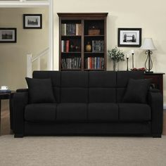 Tyler Microfiber Storage Arm Cup Holder Convert-a-Couch and Sofa Bed, Multiple Colors