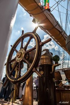 Anyone know which ship this is? Great photo would like to know the ship name. Old Sailing Ships, Sailing Boat, Ship Wheel, Pirate Life, Sail Away, Wooden Boats, Tall Ships, Pirates Of The Caribbean, Catamaran