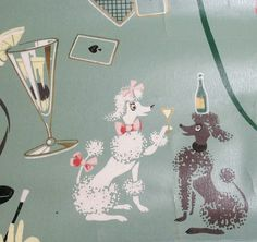Awesome old wallpaper, with cards, poodles, and martinis!