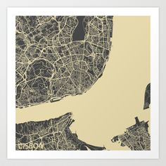 Lisbon Map Art Print by Map Map Maps - $18.00---------------------------If you like my work, you can folllow my Facebook account : https://www.facebook.com/MapMapMaps