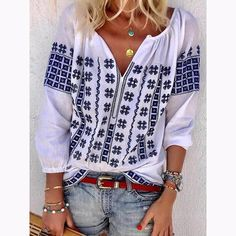 White Casual Floral Printed Sleeve Plus Size Blouse Bohemian Tops, Bohemian Style, Bohemian Summer, Ethnic Style, Shirts & Tops, Shirt Blouses, Women's Tops, Half Sleeves, Types Of Sleeves