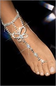 Frederick's of Hollywood - Butterfly Foot Jewelry A little bling bling for the foot Barefoot Wedding, Bare Foot Sandals, Beach Sandals, Toe Rings, Diamond Are A Girls Best Friend, Body Jewelry, Feet Jewelry, Jewellery, Beach Jewelry