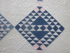 Antique Quilt with Blue and White Blocks | eBay
