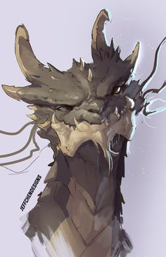 """I love the quizzical expression here. """"Hmm, to eat or.not to eat? Monster Concept Art, Monster Art, Creature Concept Art, Creature Design, Creature Drawings, Animal Drawings, Fantasy Dragon, Fantasy Art, Fantasy Character Design"""