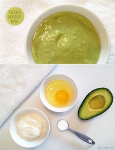 avocado moisture mask - for 1/2 cup of mask: 1/2 ripe avocado 1 whole egg 1 Tbsp Greek yogurt 1 tsp baking soda 1 Tbsp coconut oil (optional) -Combine all ingredients in blender and process for 30 seconds. Apply immediately to clean skin. Leave on 5-10 minutes until you feel mask start to tighten and dry. Rinse with warm water. Gently dry face and apply daily face moisturizer to damp skin.