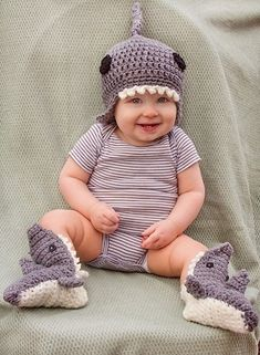 Shark Beanie - Free by Manda Nicole of MNE Crafts / Sharks - Animal Crochet Pattern Round Up - Rebeckah's Treasures