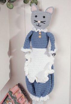 Free crochet pattern for cat bag holder… Crochet Kitchen, Crochet Home, Crochet Crafts, Crochet Yarn, Crochet Projects, Free Crochet, Diy Bags Holder, Plastic Bag Holders, Plastic Bags