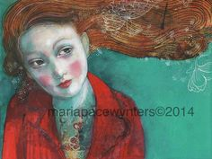 This Girl's Dreams- Original mixed media painting by Maria Pace-Wynters