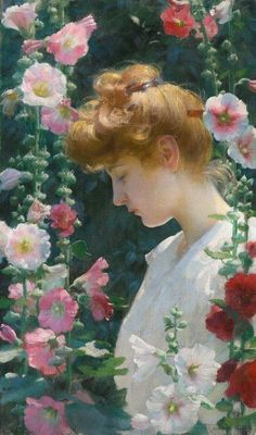 Exceptional art prints of Hollyhocks and Sunlight by Charles Courtney Curran. Pick the size, media & framing for your style. African American Art, American Artists, American Impressionism, Impressionist Art, Oil On Canvas, Canvas Prints, Garden Painting, Hollyhock, Whistler
