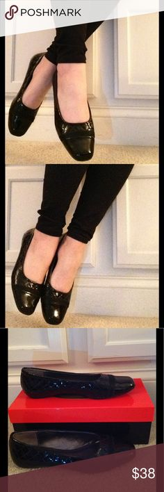 Talbots black patent flats Black patent with quilted detail flat, rubber soles. No visible wear on uppers. Talbots Shoes Flats & Loafers