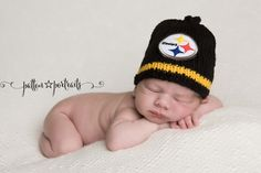 PITTSBURGH STEELERS Baby Hat, Knit Baby Hat, Steelers Hat, Pittsburgh Baby Hat…