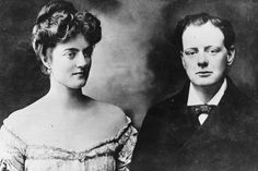 Winston Churchill with his wife-to-be, Clementine, at the time of their…