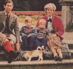 Prince and Princess of Wales and their sons, Harry and William