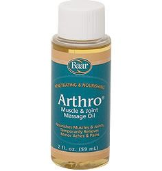 Baar Products Arthro® Massage Oil. Massage this exclusively formulated combination of oils into muscles and joints to stimulate circulation, loosen stiffness and relieve aching. This 100% Natural formula may be applied to localized areas or used for a full body rub. Used by physical therapists, massage therapists and health care practitioners. Add to your bath for a soothing, relaxing end to your day.