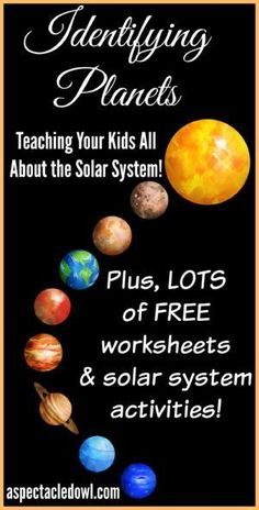 Our Solar System Identifying Planets - Teaching Your Kids All About the Solar System - Solar System Facts make Identifying Planets easy for kids in this great tutorial that includes facts, worksheets and activities that your kids will love! Solar System Facts, Space Solar System, Solar System Planets, Solar Energy System, Our Solar System, Solar System Projects For Kids, Solar System Activities, Space Activities, Science Activities