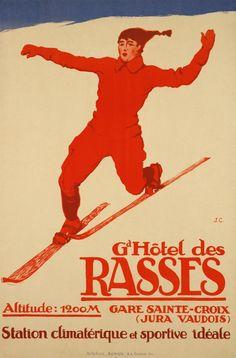 vintage ski poster - telemark skier - Courvoisier Jules / 1916