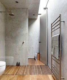 Concrete and wood bathroom