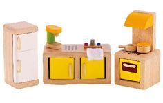 Hape Kitchen Hapes Kitchen wooden furniture set is light modern and natural - perfect accessories for your wooden dolls house. It includes an oven with a hob a sink inset into a double unit with a worktop a fridge http://www.MightGet.com/january-2017-12/hape-kitchen.asp