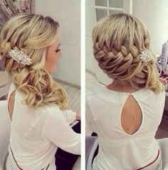 Wedding hair, bridesmaid hair, hair do Wedding Hairstyles For Women, Up Hairstyles, Pretty Hairstyles, Hairstyle Ideas, Hairstyle Braid, Braided Updo, Hairstyle Wedding, Bridesmaid Side Hairstyles, Country Wedding Hairstyles