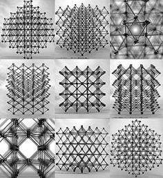 """Different views of the """"cuboct"""" lattice assembly which would make up the structure."""