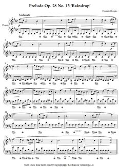 Chopin - Raindrop Prelude Op. 28 No. 15  (easy version)  sheet music for Piano