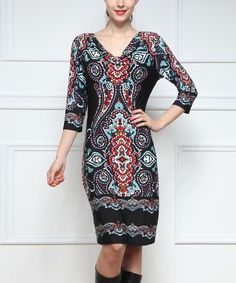Loving this Reborn Collection Black & Red Paisley Drape Neck Shift on #zulily! #zulilyfinds