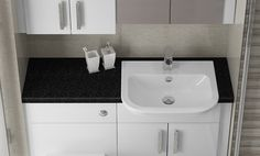 White Gloss Fitted Furniture - A black countertop complements White Gloss beautifully, and creates a modern monochrome bathroom colour scheme. Fitted Bathroom Furniture, Modern Furniture, Home Furniture, Bathroom Color Schemes, British Home, Furniture Manufacturers, Bathroom Ideas, Countertops, Monochrome