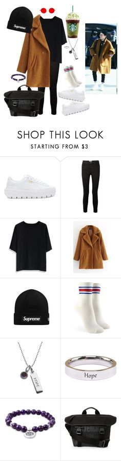"""Airport Look #9 Hoseok Inspired!"" by bts-majestic-beings ❤ liked on Polyvore featuring Puma, Current/Elliott, Chicwish, WithChic, Forever 21, Lord & Taylor, Pink Box and Givenchy"